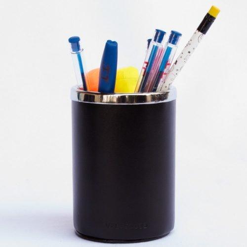 Porta Lapicero de Cuero Box Negro c/ accesorio metalico