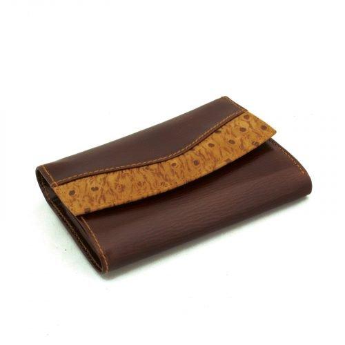 billetera de cuero mujer marron avestruz