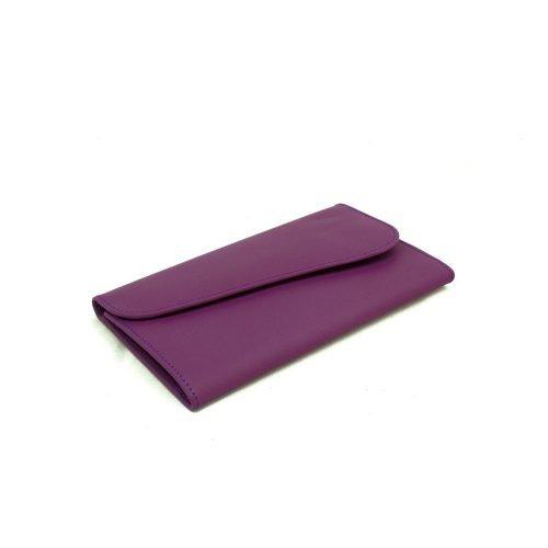 Billetera de Dama con Monedero en Cuero Genuino color morado