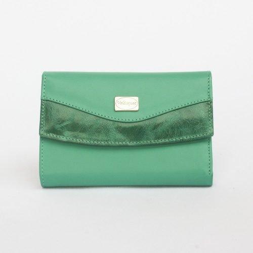 Billetera de Dama en Cuero Genuino color verde jade