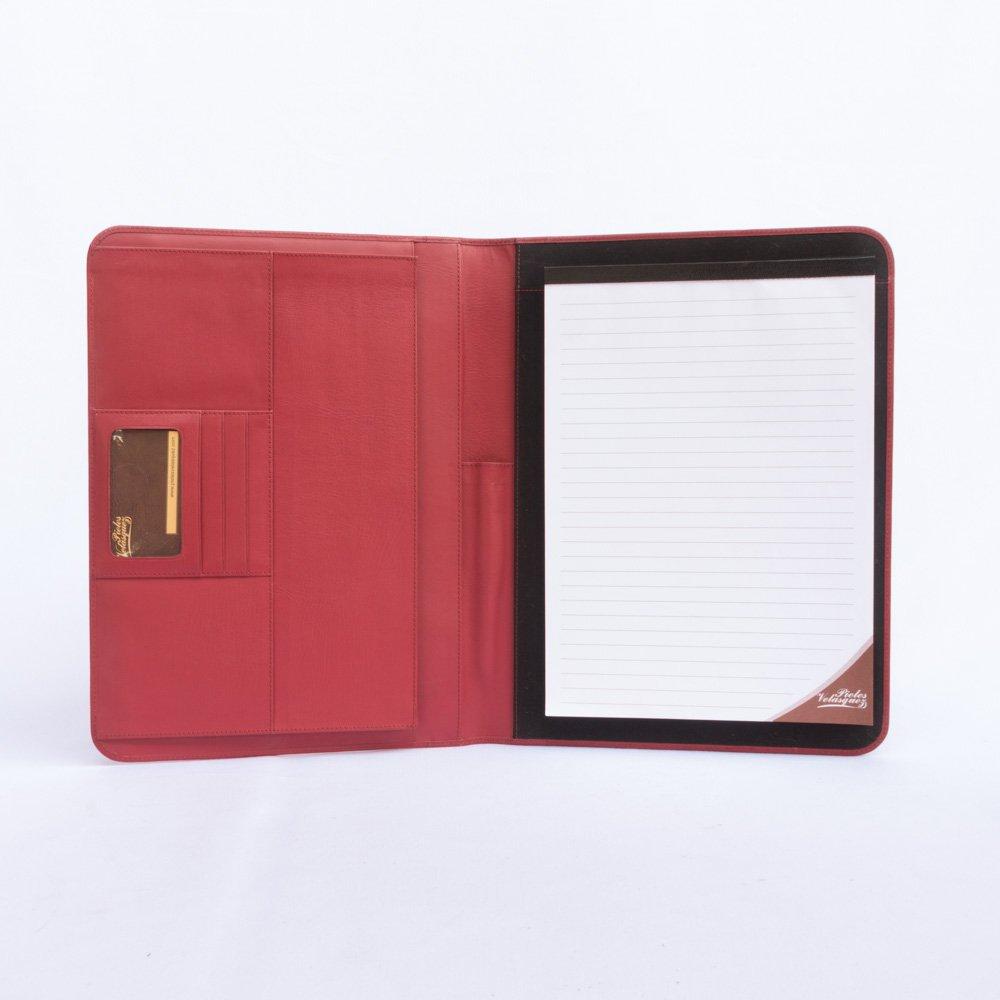 Porta carpeta Estándar A4 de Cuero Rojo