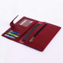 Billetera de Dama de Cuero Modelo Rustico color Rojo