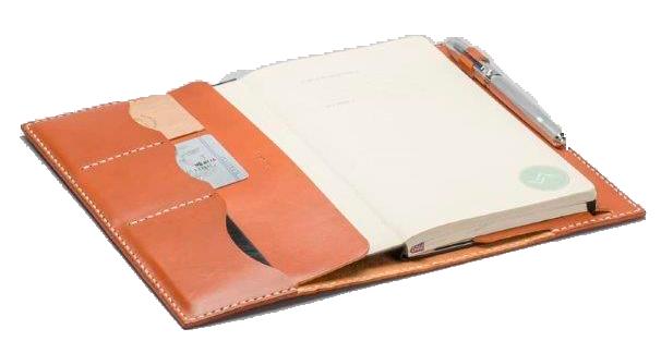 Funda de Cuaderno de Cuero Rustico abierto