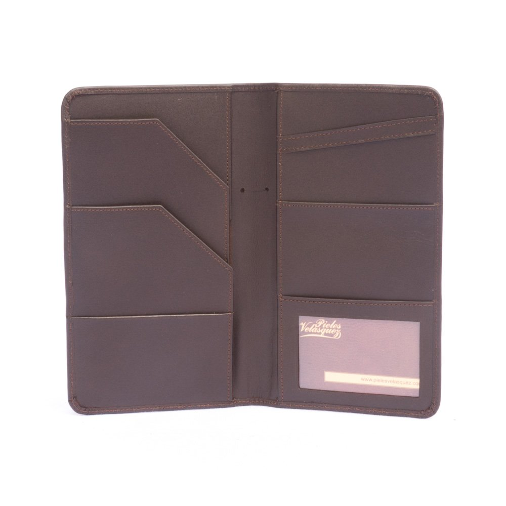 Porta Pasaporte VIP de Cuero Vacuno color Moro
