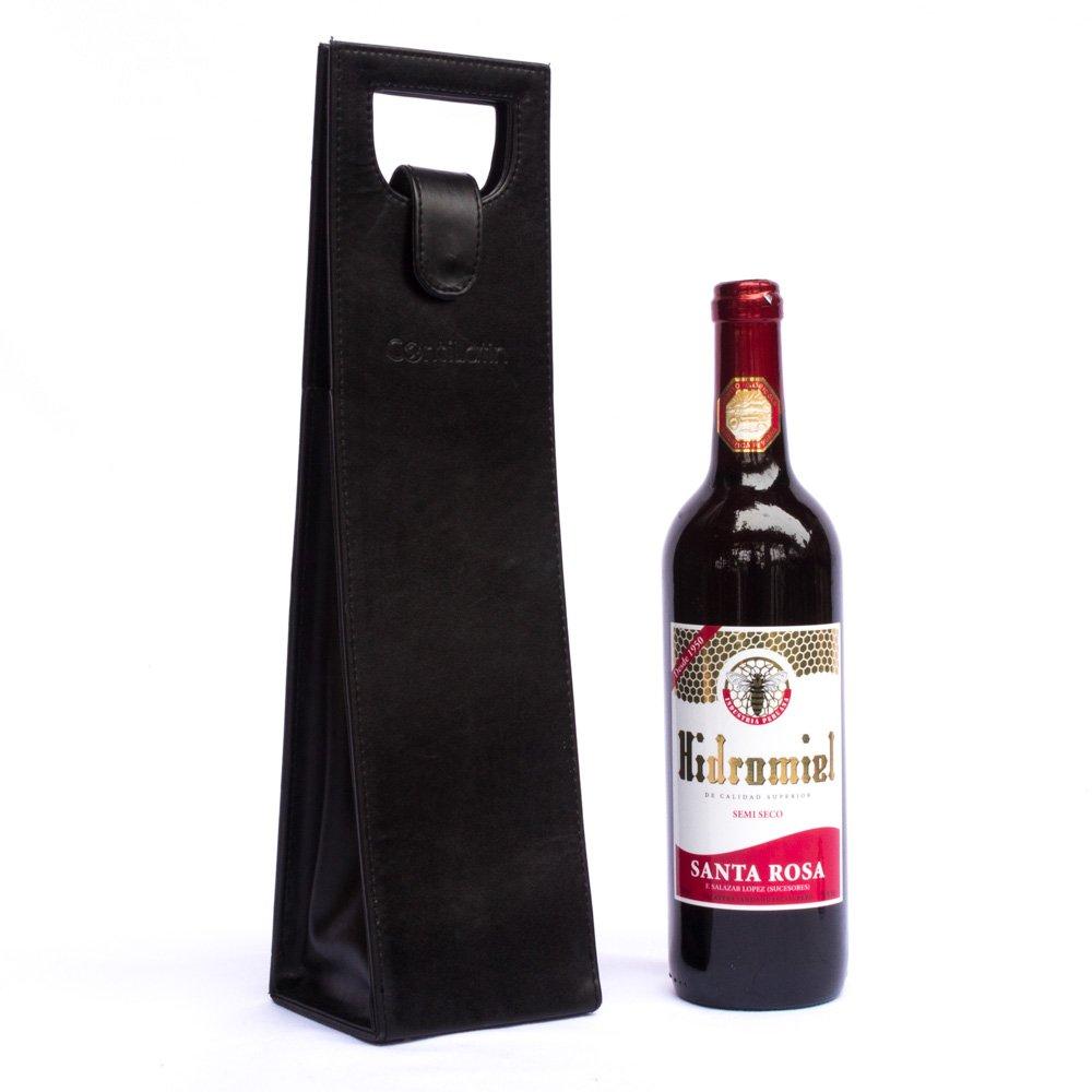 Porta Vino de Cuero Vacuno Color Negro